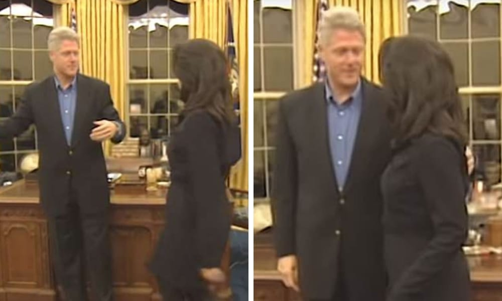 Clinton is seen talking with Lewsinsky, who had worked as a White House intern, for several seconds, putting his arm around her and then posing for a photograph. (Clinton Library/YouTube)