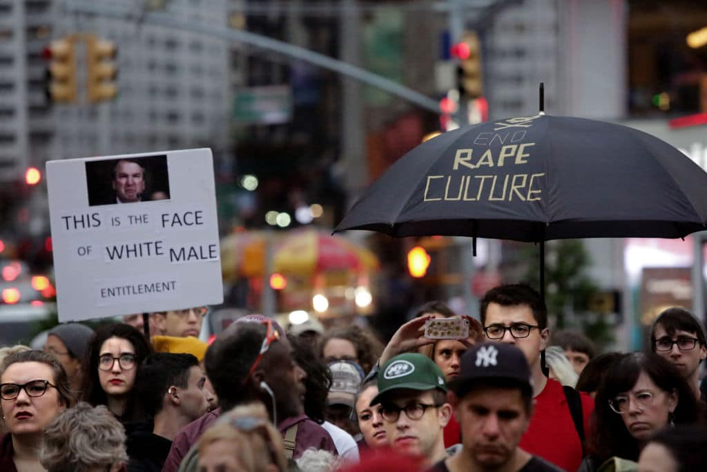 Protesters gather to demonstrate against Supreme Court Nominee Brett Kavanaugh in Union Square on October 6, 2018 in New York City.  (Photo by Yana Paskova/Getty Images)