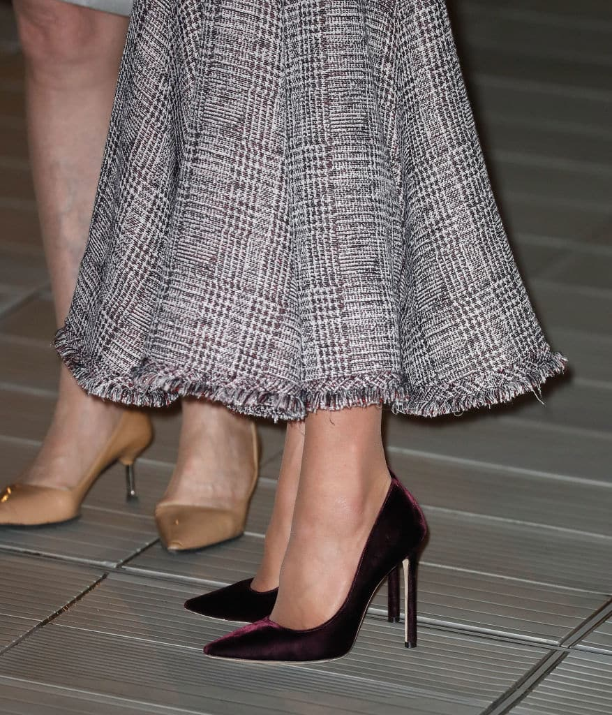Kate was wearing Jimmy Choo Romy shoes in a sharp oxblood shade made in a sumptuous velvet (Getty Images)