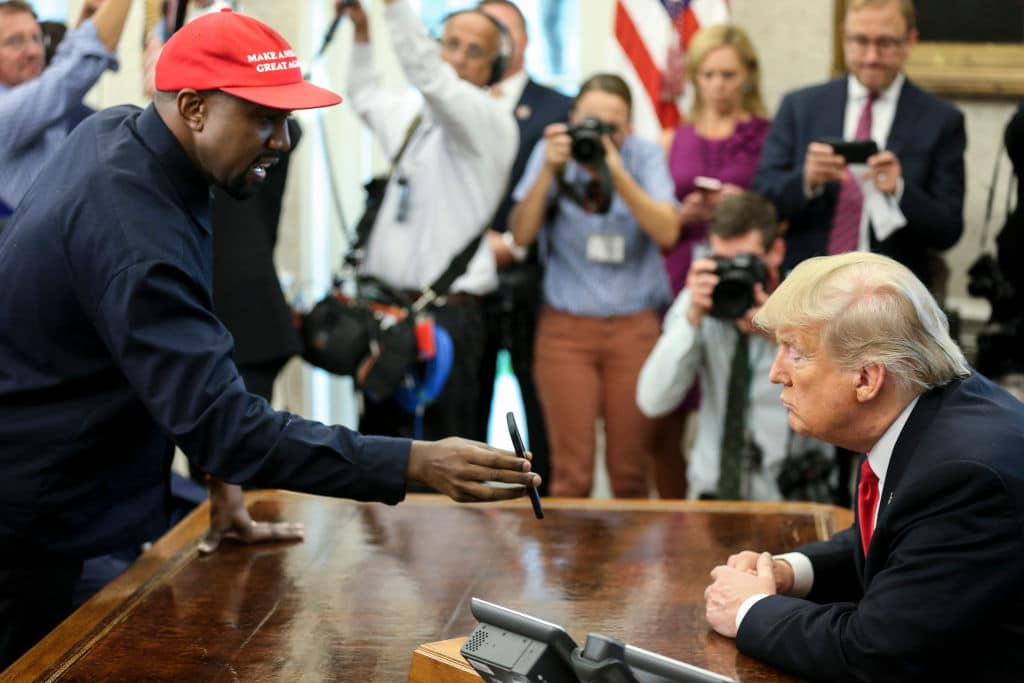 "The rapper said he could be president himself — but ""only after"" Trump in 2024 (Getty Images)"
