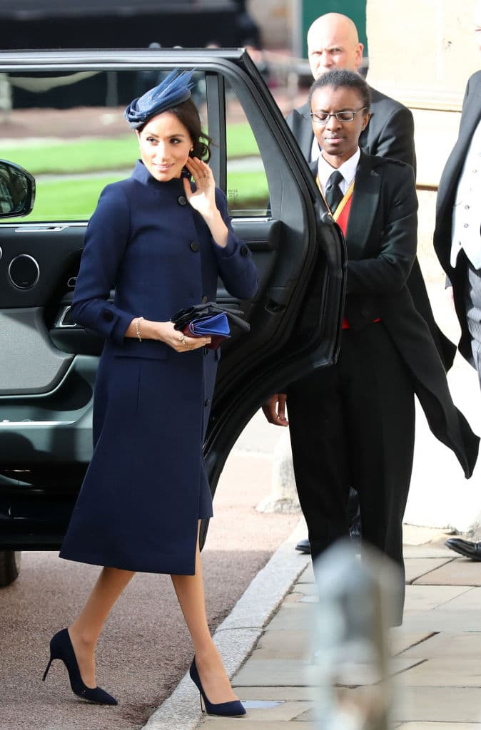 Meghan chose to wear a smart navy dress, coat and fascinator from Givenchy (Getty Images)