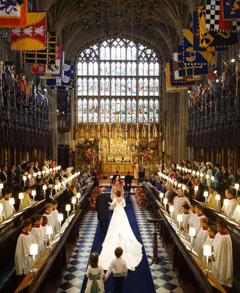 Princess Eugenie of York walks down the aisle with her father Prince Andrew, Duke of York ahead of the wedding of Princess Eugenie of York and Mr. Jack Brooksbank at St. George's Chapel on October 12, 2018, in Windsor, England. (Getty Images)