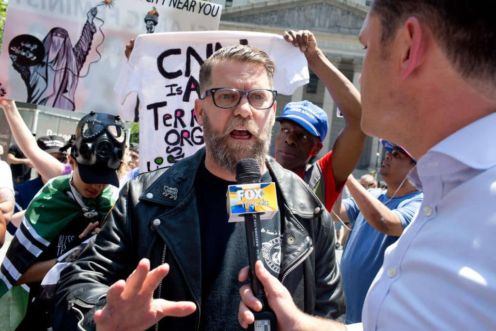 The alt-right leader and former co-founder of Vice Magazine Gavin McInnes attends an Act for America rally to protest sharia law on June 10, 2017 in Foley Square in New York City. Members of the Oath Keepers and the Proud Boys, right wing Trump supporting groups that are willing to directly confront and engage left-wing anti-Trump protestors, attended the event. (Photo by Andrew Lichtenstein/ Corbis via Getty Images)