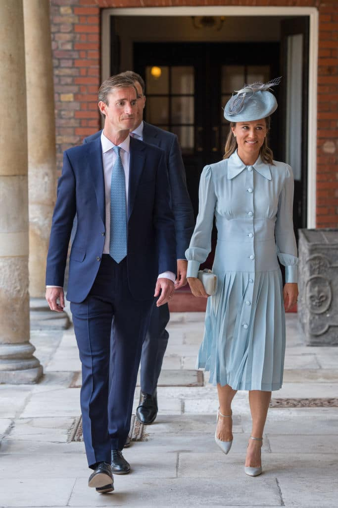 Pippa Middleton with and husband James Matthews at the christening of Prince Louis at the Chapel Royal, St James's Palace on July 9 in London (Photo by Dominic Lipinski - WPA Pool/Getty Images)
