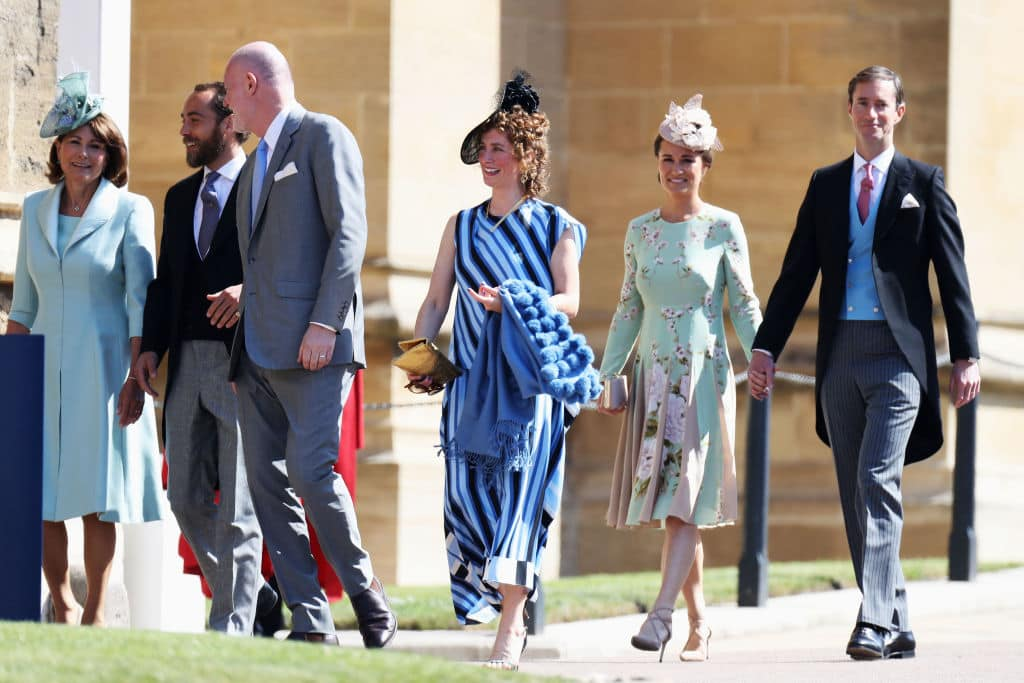 Carole Middleton, James Middleton, Paddy Harverson, Mel Harverson, Pippa Middleton and James Matthews at at the wedding of Prince Harry and Meghan Markle at St George's Chapel, Windsor Castle on May 19. (Photo by Chris Jackson/Getty Images)