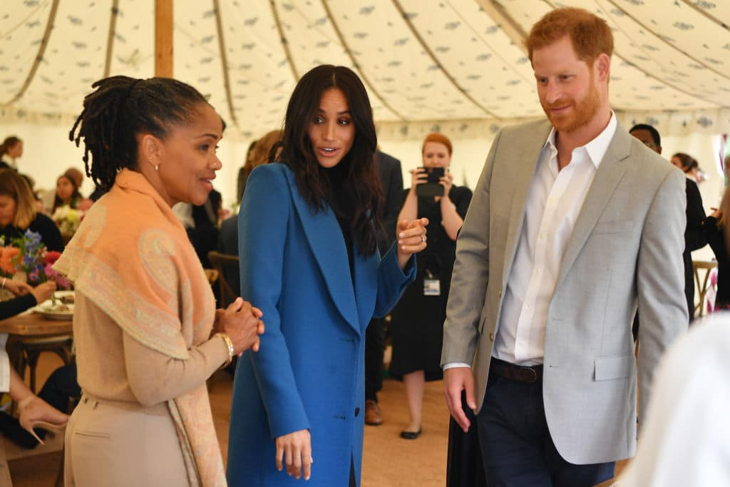Prince Harry and Meghan Markle with her mother Doria Ragland (left) and Prince Harry at Kensington Palace on September 20 (Photo by Ben Stansall - WPA Pool/Getty Images)