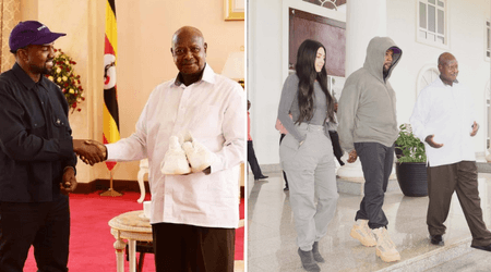 Kim and Kanye gift Yeezy trainers to children after meeting Ugandan President Yoweri Museveni