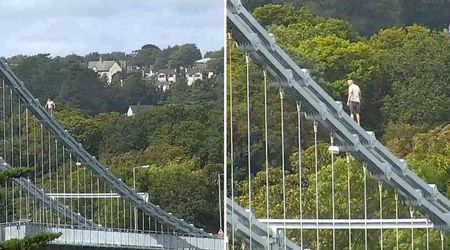 Drunk man scales 150ft bridge to escape police after being refused drink at a pub in Wales