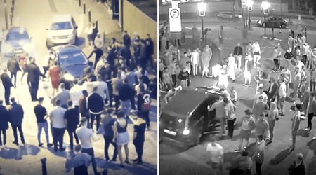 Teenage driver 'trying to break up a fight' plows car into a crowd of young people leaving two women seriously injured