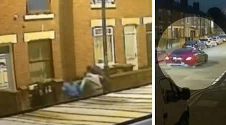 Shocking footage shows a man being repeatedly kicked and stamped on by three robbers