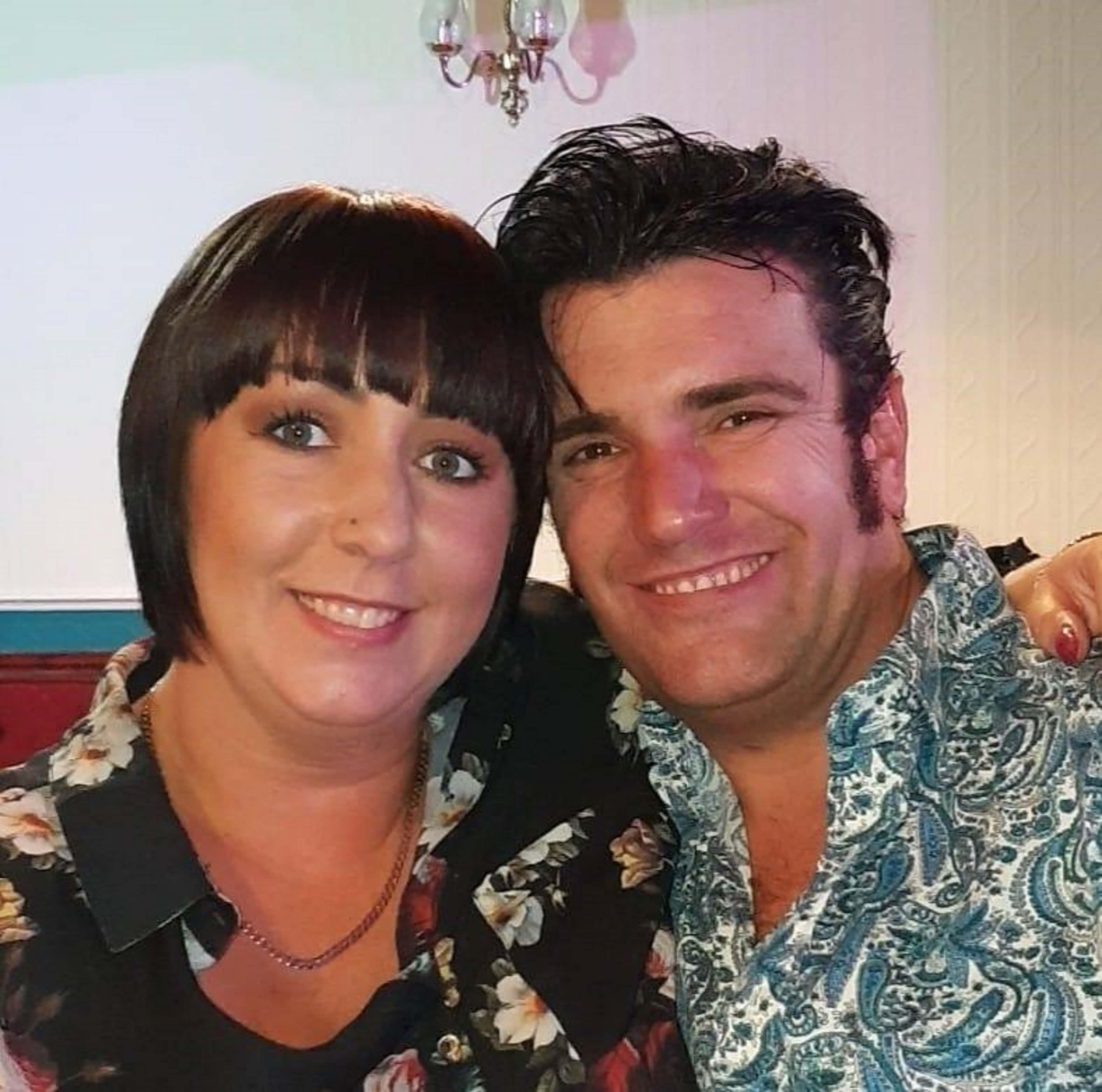 Elvis tribute artist Lee Grindey, 41, with his wife