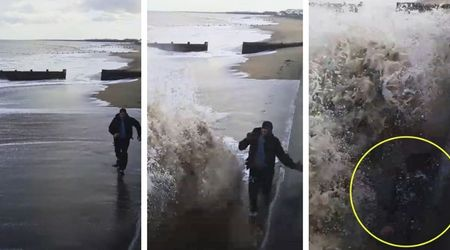 Teenager who tried to race the tide misjudges gigantic wave and almost gets washed away