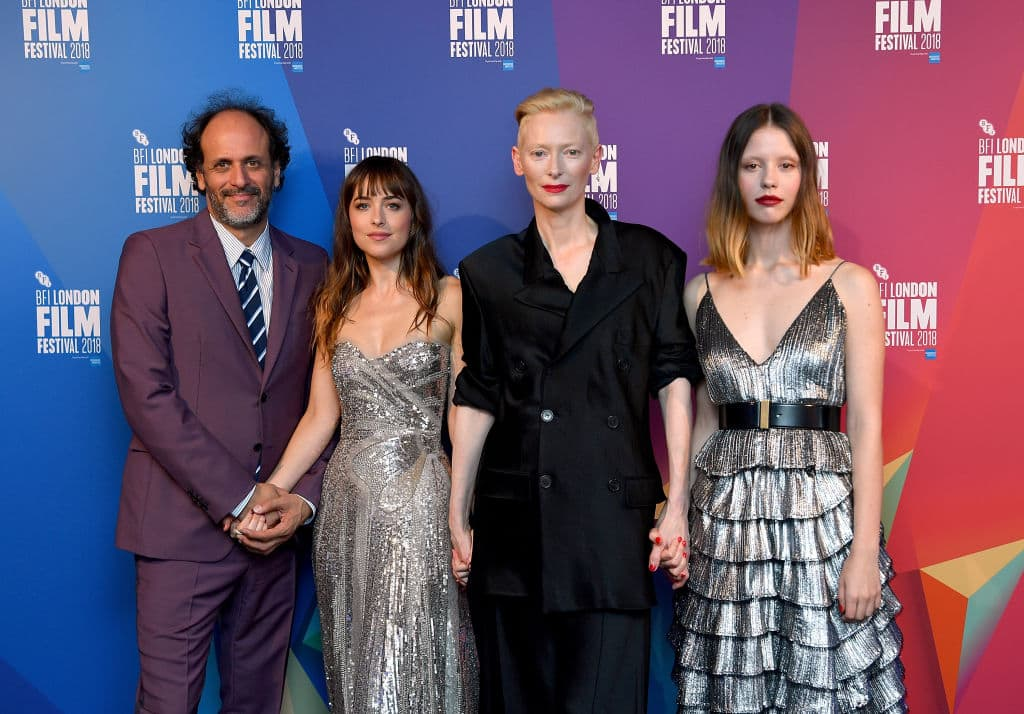 Luca Guadagnino, Dakota Johnson, Tilda Swinton, and Mia Goth attend the UK Premiere of 'Suspiria' & Headline Gala during the 62nd BFI London Film Festival on October 16, 2018, in London, England. (Getty Images)