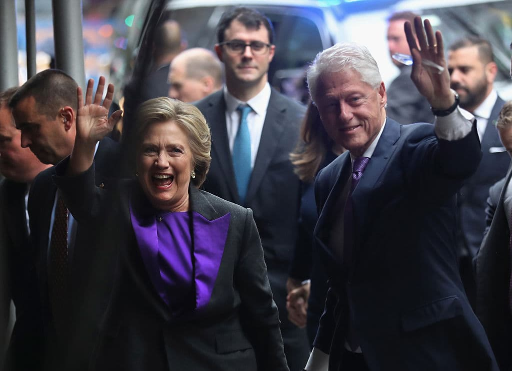 Hillary and Bill Clinton arrive to the New Yorker Hotel where she was to address supporters on November 9, 2016 in New York City (Getty Images)