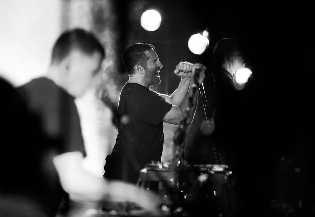 Atticus Ross and Trent Reznor of Nine Inch Nails perform onstage on day 3 of FYF Fest 2017 at Exposition Park on July 23, 2017 in Los Angeles, California. (Getty Images)