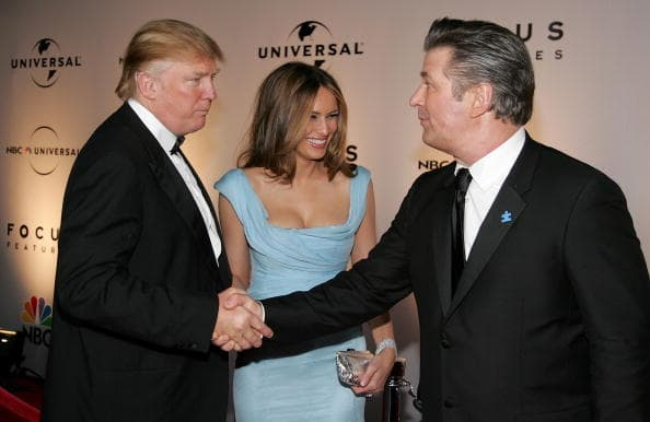 Donald Trump, wife Melania Trump, and Actor Alec Baldwin at the NBC/Universal Golden Globe After Party held at the Beverly Hilton on January 15, 2007, in Beverly Hills, California. (Getty Images)