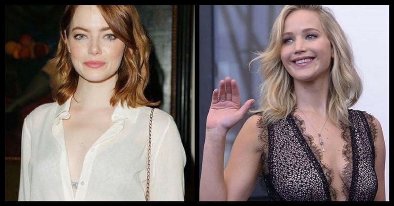 Jennifer Lawrence and Emma Stone hug like two robots waltzing...seriously check it out