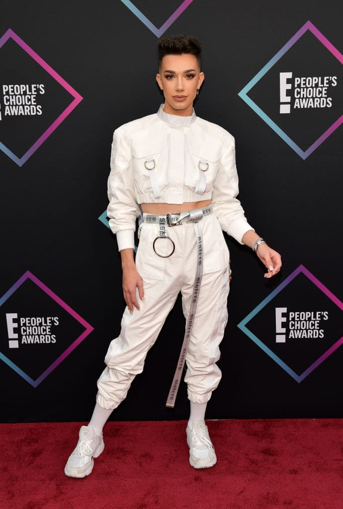 James Charles not only landed on the best-dressed list, but he also won the Favorite Beauty Influencer of 2018 award! Love the white on white on Charles. (Photo by Matt Winkelmeyer/Getty Images)