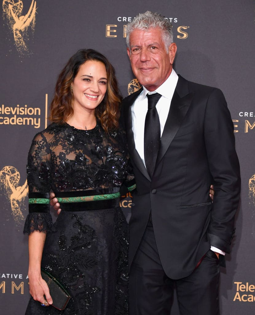 Actor Asia Argento and Anthony Bourdain attend day 1 of the 2017 Creative Arts Emmy Awards at Microsoft Theater on September 9, 2017, in Los Angeles, California. (Getty Images)