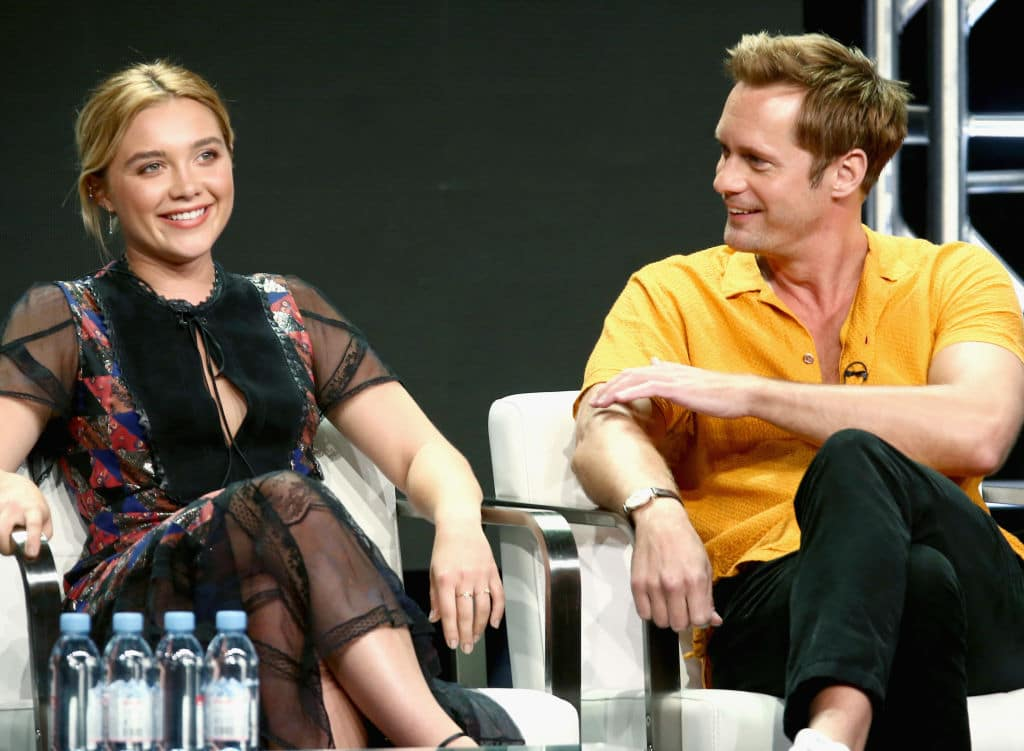 Actors Florence Pugh and Alexander Skarsgård of 'The Little Drummer Girl' speak onstage during the AMC Networks portion of the Summer 2018 TCA Press Tour on July 28, 2018, in Los Angeles, California. (Getty Images)