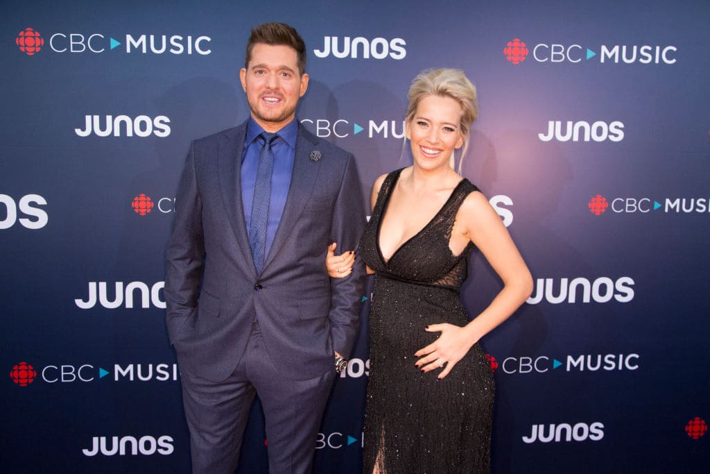 Juno Host Michael Buble and his wife Luisana Lopilato attend the red carpet arrivals at the 2018 Juno Awards at Rogers Arena on March 25, 2018, in Vancouver, Canada. (Getty Images)