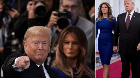 Melania Trump sports stylish $1,140 Roland Mouret dress at Medal of Freedom ceremony with Donald Trump