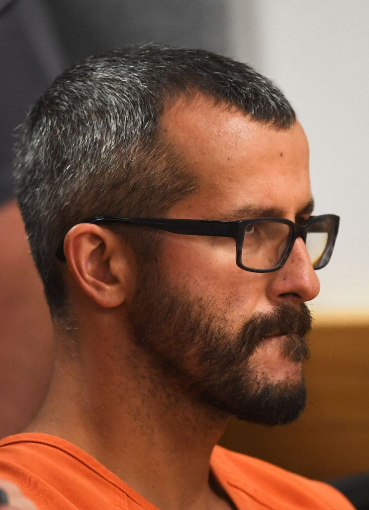 Christopher Watts is in court for his arraignment hearing at the Weld County Courthouse on August 21, 2018, in Greeley, Colorado. Watts faces nine charges, including several counts of first-degree murder of his wife and his two young daughters. (Getty Images)