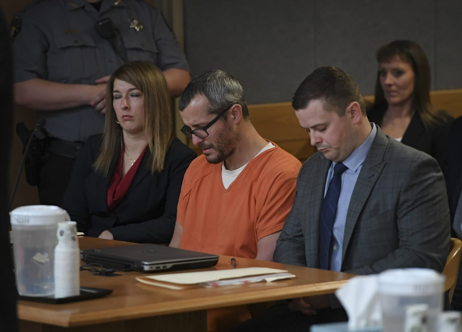 Christopher Watts sits in court for his sentencing hearing at the Weld County Courthouse on November 19, 2018 in Greeley, Colorado. Watts was sentenced to life in prison for murdering his pregnant wife, daughters. (Photo by RJ Sangosti/The Denver Post via Getty Images)