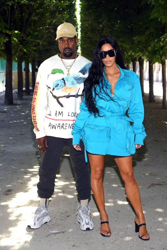 Kanye West and Kim Kardashian attend the Louis Vuitton Menswear Spring/Summer 2019 show as part of Paris Fashion Week on June 21, 2018, in Paris, France. (Getty Images)