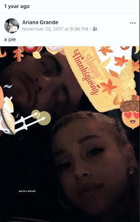 Ariana posted a throwback photo from Thanksgiving 2017 showing her and Mac together. (Source: Instagram)