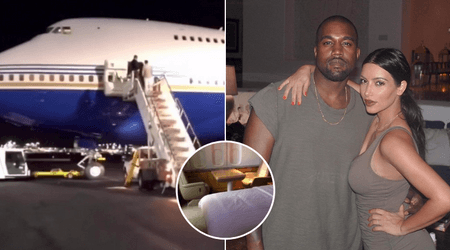 Kim Kardashian joins Kanye West in 'Yeezy floating office' and shares tour of private Boeing 747