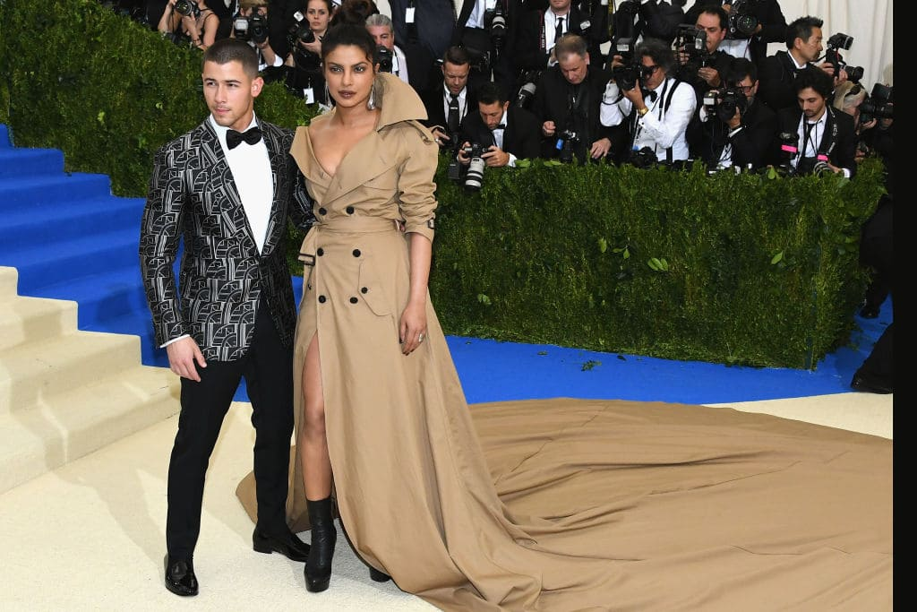 Nick Jonas and Priyanka Chopra attend the 'Rei Kawakubo/Comme des Garcons: Art Of The In-Between' Costume Institute Gala at Metropolitan Museum of Art on May 1, 2017 in New York City. (Photo by Dia Dipasupil/Getty Images For Entertainment Weekly)