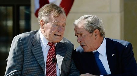 Former president George HW Bush's last words were to his son, he said: 'I love you, too'