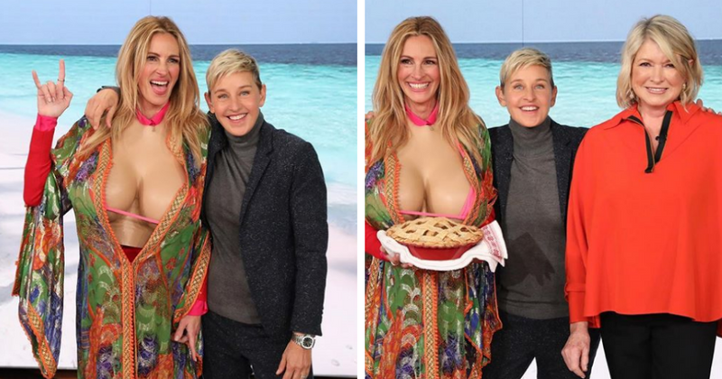 Ellen DeGeneres gives Julia Roberts a huge fake Kardashian cleavage as a tip to help increase her social media followers