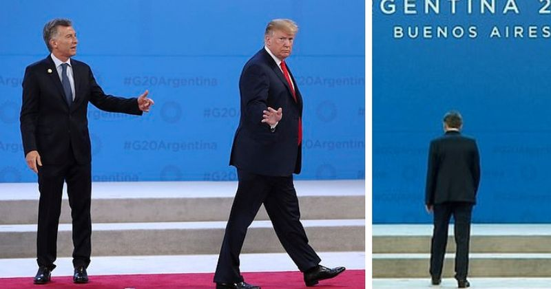 Trump wanders off the G20 stage before a group photo and leaves Argentina's President Macri on his own