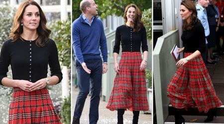 Kate Middleton stuns in tartan skirt and cashmere top as Kensington Palace throws Christmas party for RAF families