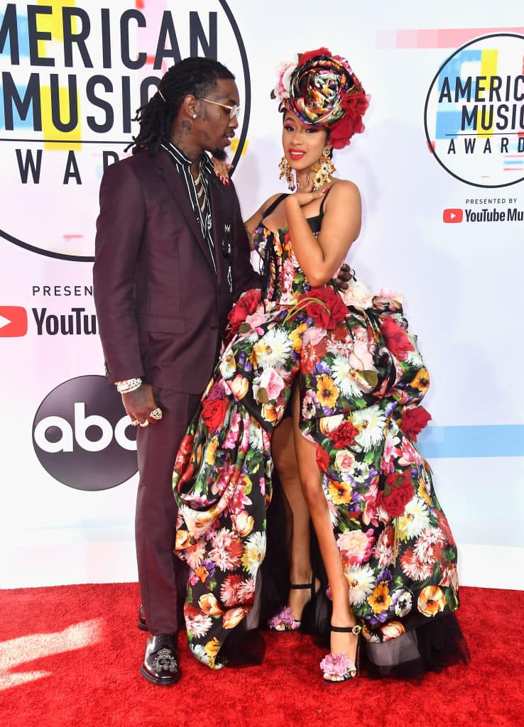 Offset (L) and Cardi B at the 2018 American Music Awards at Microsoft Theater on October 9, 2018 in Los Angeles, California. (Photo by Frazer Harrison/Getty Images)