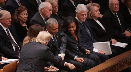 Hillary Clinton and Donald Trump give each other the cold shoulder at George HW Bush's state funeral