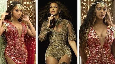 Beyonce looks gorgeous as she sports a red and gold gown for her performance at the wedding of the daughter of India's richest man