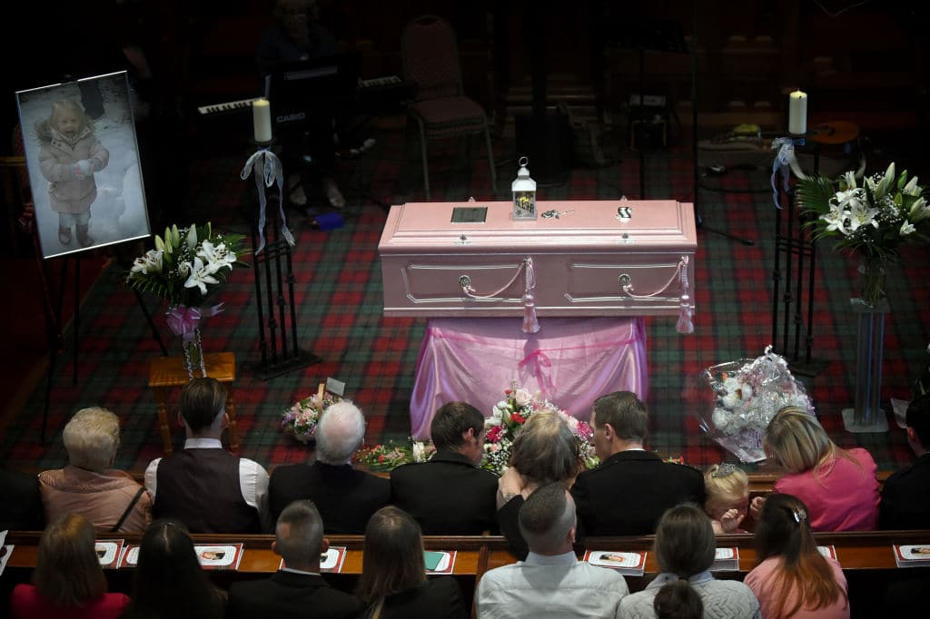 The pink coffin during the funeral of six-year-old Alesha MacPhail at the Coats Funeral Home on July 21, 2018 in Coatbridge, Scotland. Alesha MacPhail's body was found on the Isle of Bute earlier this month. (Getty Images)