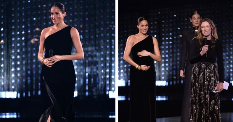 1c9aa1273afd7 Pregnant Meghan Markle makes a surprise appearance at the British Fashion  Awards and steals the show in her Givenchy gown