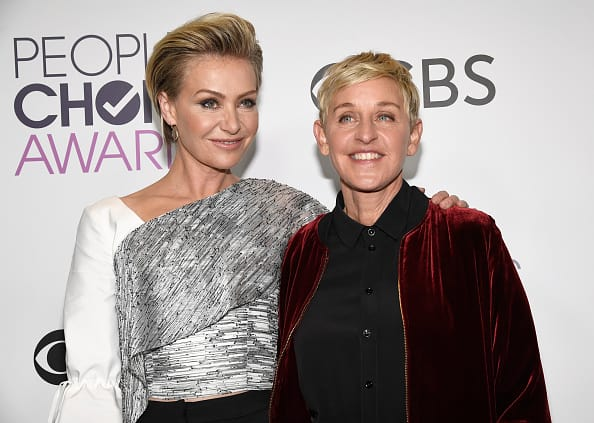 Ellen DeGeneres, winner of multiple awards (R) and actress Portia De Rossi pose in the press room during the People's Choice Awards 2017 at Microsoft Theater on January 18, 2017 in Los Angeles, California. (Photo by Kevork Djansezian/Getty Images)