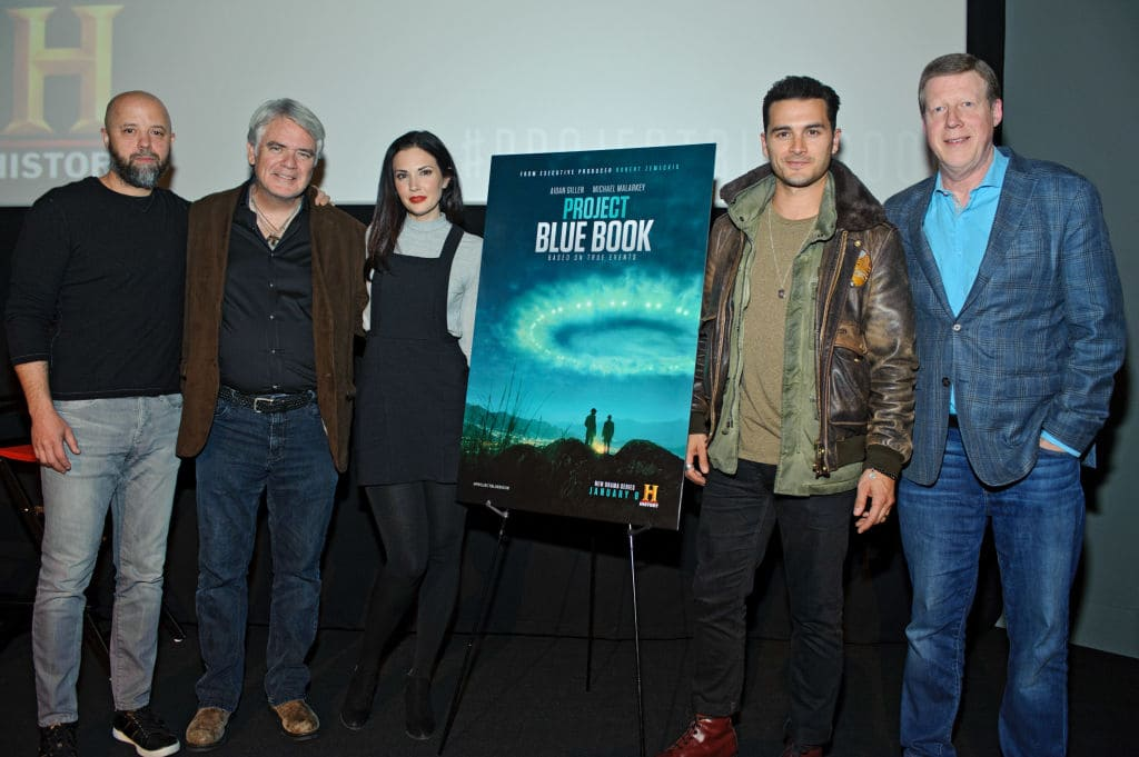 (L to R) Sean Jablonski, Michael Harney, Laura Mennell, Michael Malarkey, and Paul Hynek attend the 'Project Blue Book' Chicago screening at Davis Theatre on November 15, 2018 in Chicago, Illinois. (Photo by Timothy Hiatt/Getty Images for HISTORY)