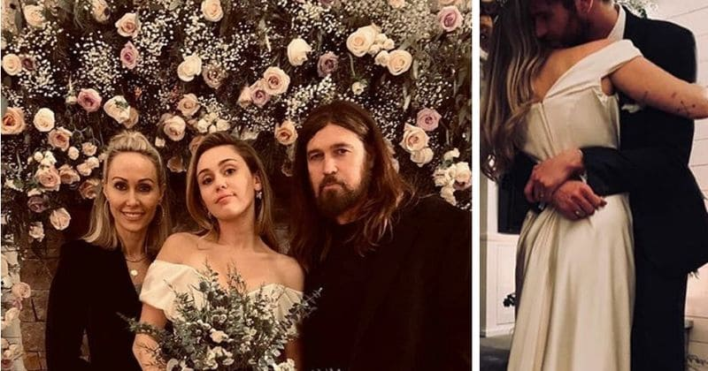 Miley Cyrus Wedding Dress.Miley Cyrus Dazzles In First Wedding Portrait Alongside Parents Tish