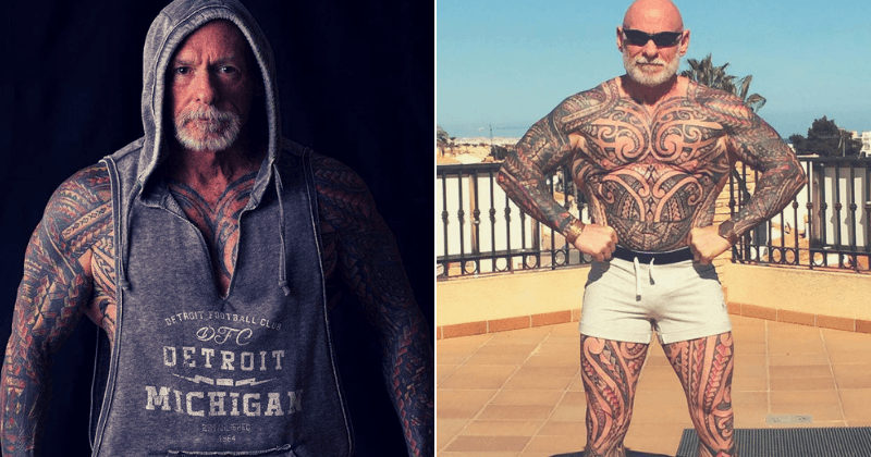 37cfe7576 61-year-old bodybuilder is now covered head-to-toe in tattoos after ...