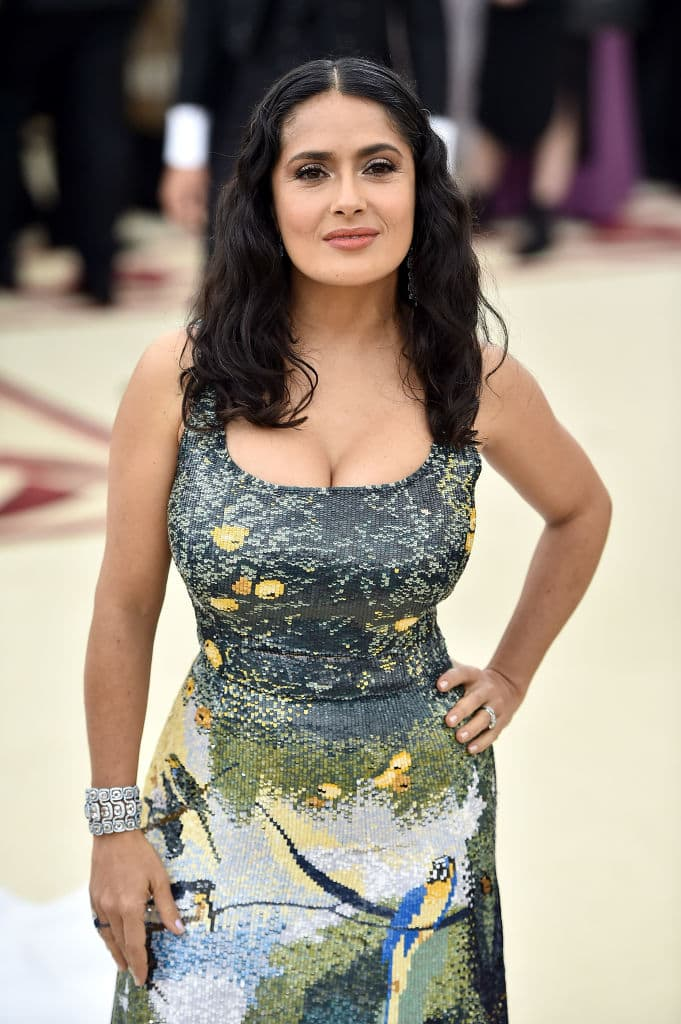Actor Salma Hayek attends the Heavenly Bodies: Fashion & The Catholic Imagination Costume Institute Gala at The Metropolitan Museum of Art on May 7, 2018, in New York City. (Getty Images)