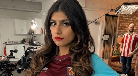 Mia Khalifa proves she's a West Ham fan as she sports the team jersey to show she's rooting for them