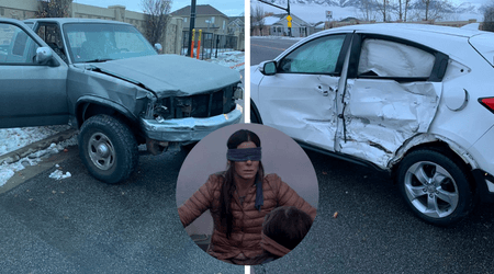 Blindfolded teenager slams her pick up truck into an SUV after her attempt at the 'Bird Box Challenge' backfires
