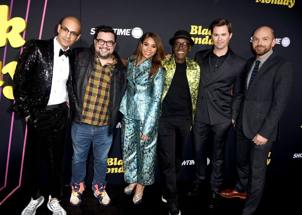 Yassir Lester, Horatio Sanz, Regina Hall, Don Cheadle, Andrew Rannells and Paul Scheer arrive at the premiere of Showtime's 'Black Monday' at The Theatre at Ace Hotel on January 14, 2019 in Los Angeles, California. (Photo by Kevin Winter/Getty Images)
