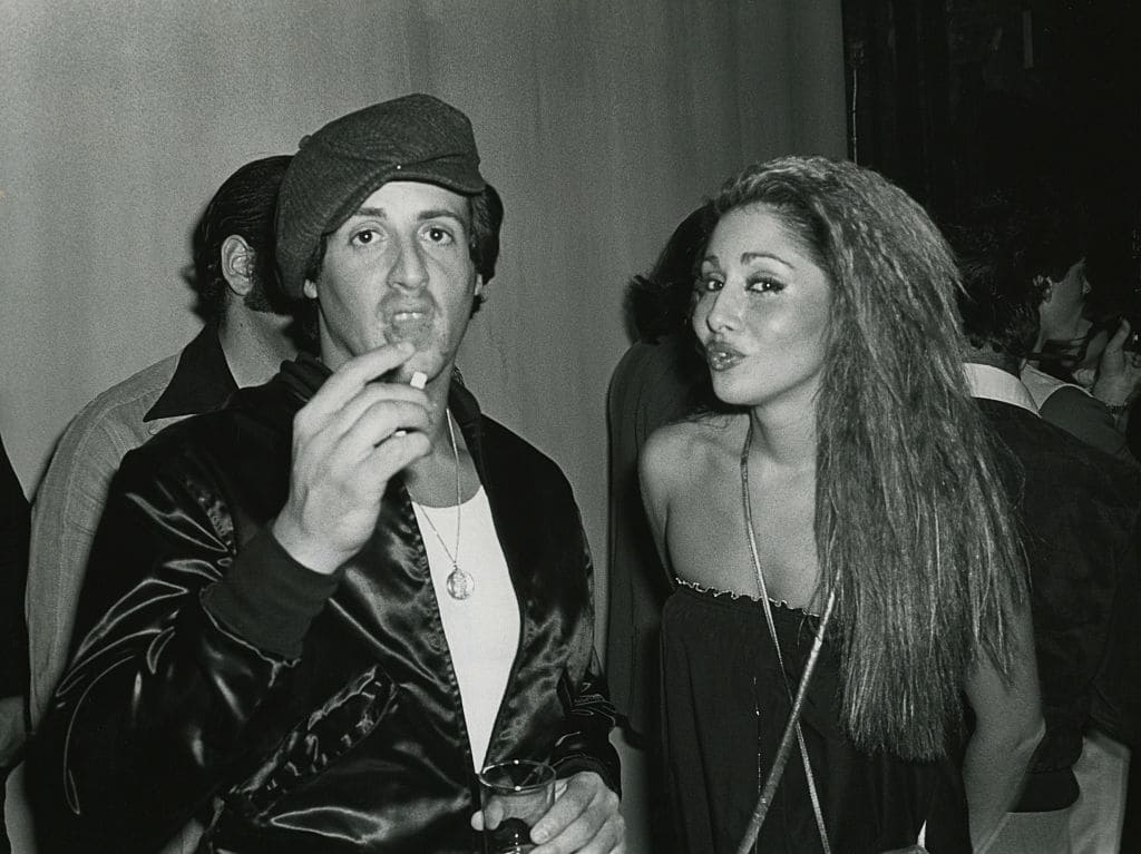 Sylvester Stallone and Sheryl Slocum at Studio 54 circa 1977 in New York City (Getty Images)